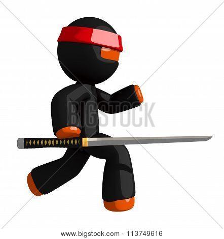 Orange Man Ninja Warrior With Slicing Katana