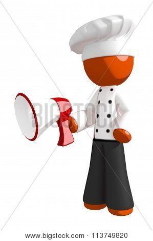 Orange Man Chef Using Megaphone