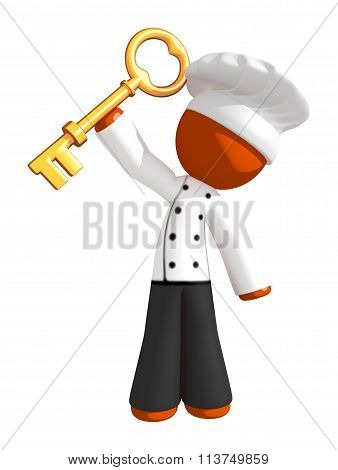 Orange Man Chef Holding Large Key