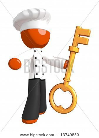 Orange Man Chef Holding Large Key Facing Audience