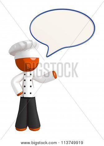Orange Man Chef Word Bubble