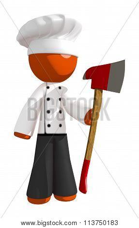 Orange Man Chef Holding Ax Upright
