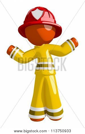 Orange Man Firefighter Confused