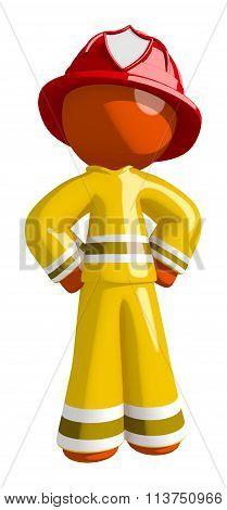 Orange Man Fireman With Hands On Hips