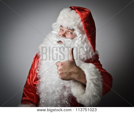Santa Claus And Sign Of Approval