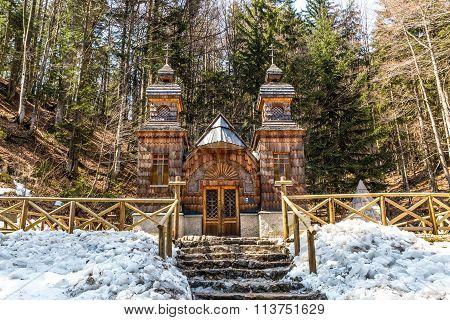 Wooden Russian Chapel On The Vrsic Pass-slovenia