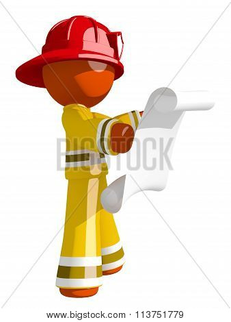 Orange Man Firefighter Reviewing Escape Plan