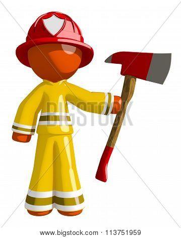 Orange Man Firefighter Holding Ax