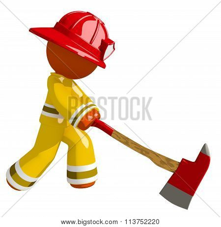 Orange Man Firefighter Chopping With Ax