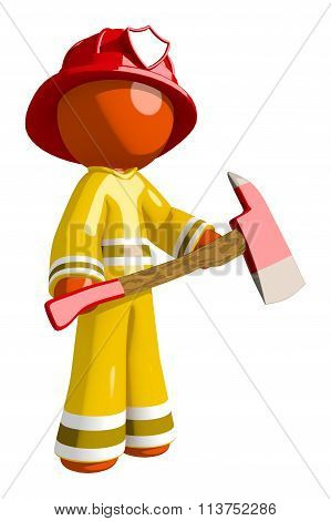 Orange Man Firefighter Hero With Ax