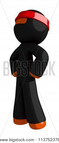 Orange Man Ninja Warrior Hero Stance