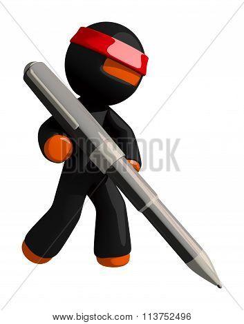 Orange Man Ninja Warrior Writing With Giant Pen