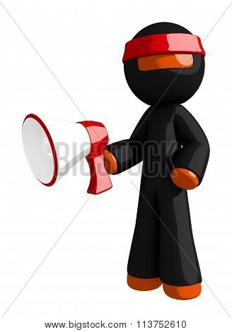 Orange Man Ninja Warrior With Megaphone