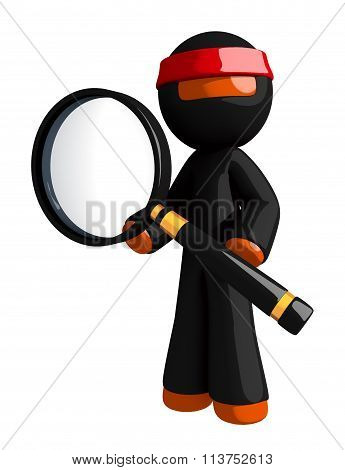 Orange Man Ninja Warrior Posing With Magnifying Glass