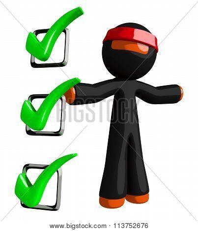 Orange Man Ninja Warrior With Large Checklist
