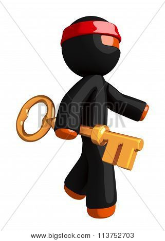 Orange Man Ninja Warrior With Large Gold Key