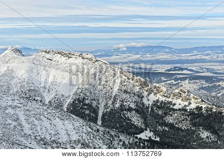 Panoramic View From Kasprowy Wierch Of Zakopane In Tatra Mounts In Winter