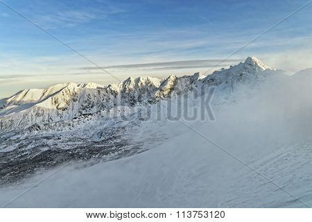 Snow Storm On Kasprowy Wierch In Zakopane In Tatra Mounts In Winter
