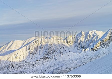 Sunny Weather In Kasprowy Wierch In Zakopane In Tatra Mounts In Winter
