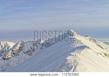 Sunny Weather On Kasprowy Wierch In Zakopane In Tatra Mounts In Winter