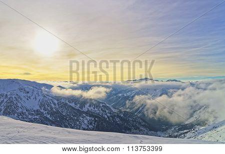 Sunset At The Kasprowy Wierch In Zakopane In Tatra Mounts In Winter