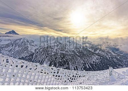 Sunset In The Kasprowy Wierch Peak In Zakopane In Tatras In Winter