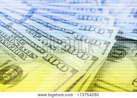 Many hundred dollars cash money as background