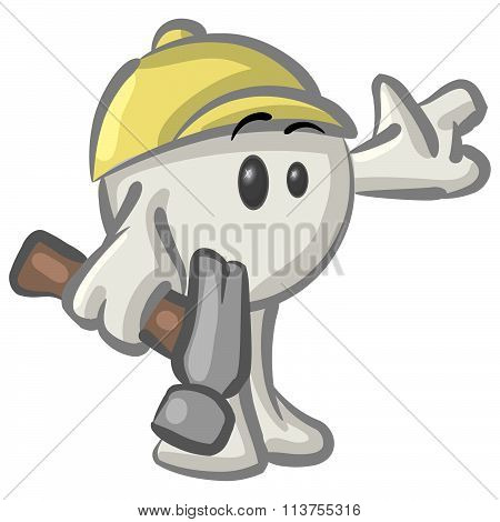 Clipart Illustration Of A White Konkee Character Construction Worker In A Hardhat, Holding A Hammer