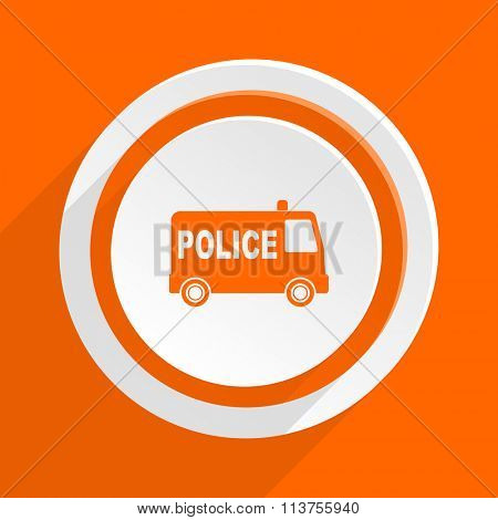 police orange flat design modern icon for web and mobile app
