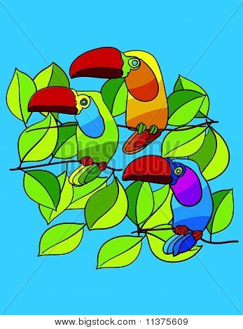 Parrots In The Tree
