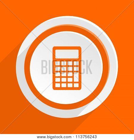 calculator orange flat design modern icon for web and mobile app