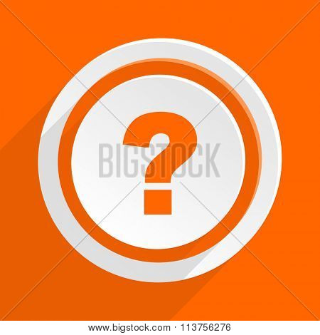 question mark orange flat design modern icon for web and mobile app