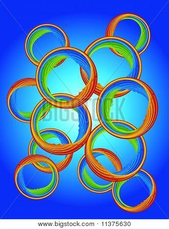 Colored Bubbles Against Blue