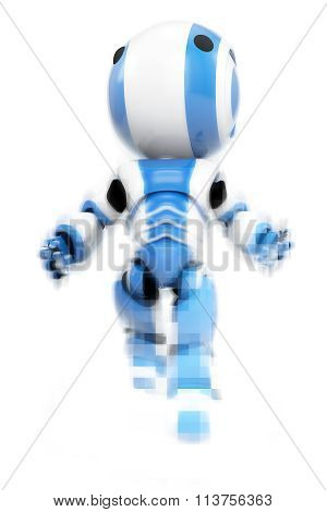 Blue Robot Emerging From Pixels