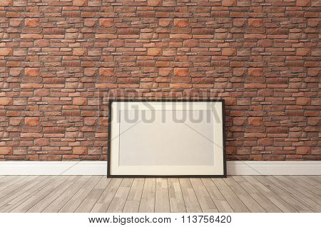 Black Picture Frames Decor With Red Natural Brick Wall, Background, Template Design