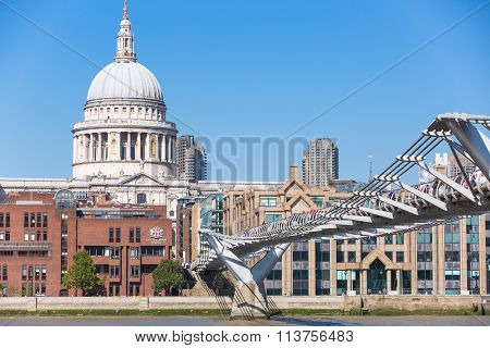 LONDON, UK - SEPTEMBER 10, 2015: St. Paul's cathedral view from the millennium bridge
