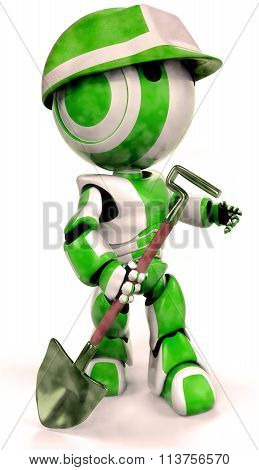 Green Robot Environmental Worker With Hard Hat