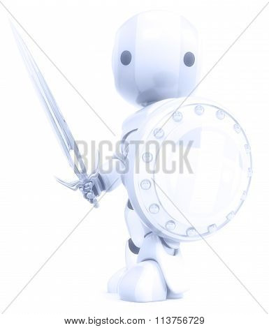 Robot White Knight Warrior