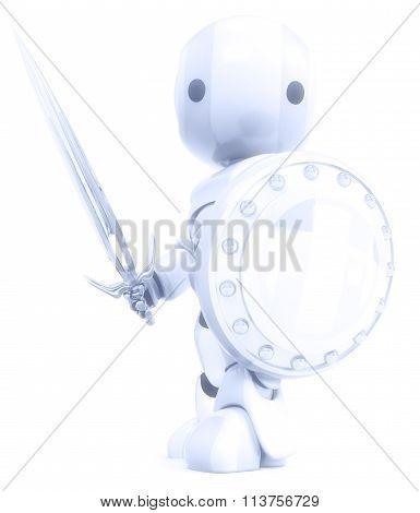 Robot White Knight Warrior