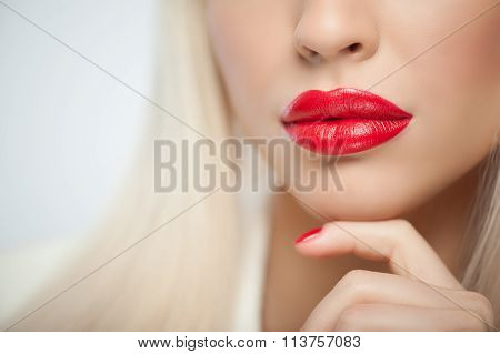 Pretty young woman with sexy bright make-up