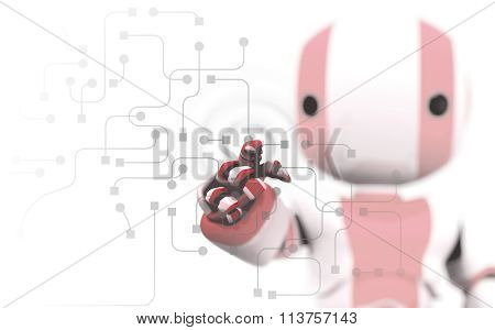 Red And White Robot Pointing At Circuitry