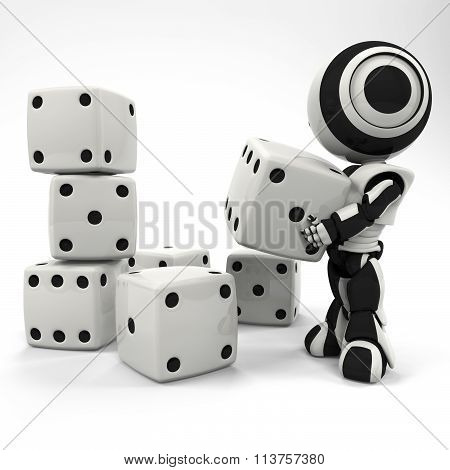 Robot Stacking A Collection Of Dice At Random