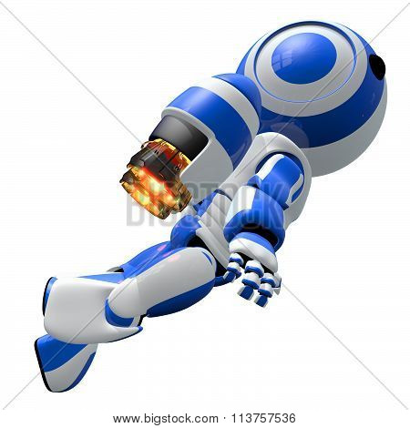 Robot Rocketeer Flying Up