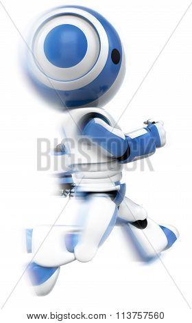 Blue Robot Running Fast Motion Blur