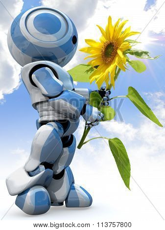 Glossy 3D Robot Holding Flower Blue Sky Clouds