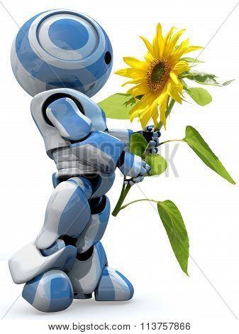Glossy 3D Robot Holding Flower
