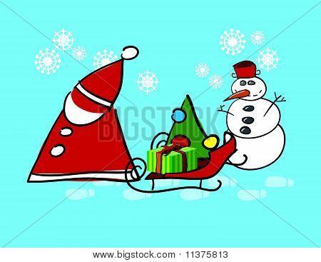 Santa Claus And Snow Man