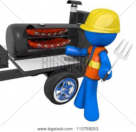 Bbq Smoker Mobile Grill Contractor On Break