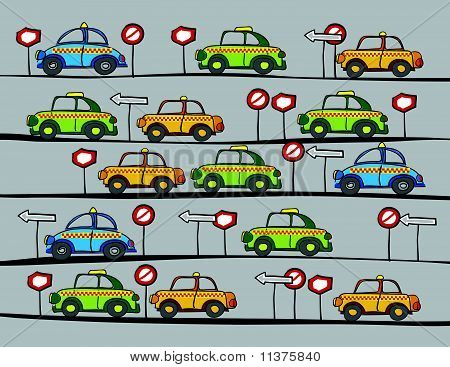 Taxi Cars And Traffic Signs