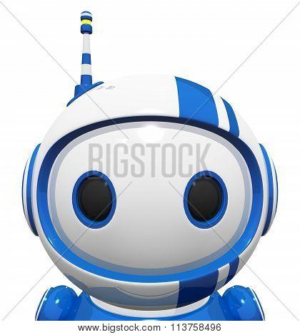 3D Cute Blue Robot Portrait Close Up